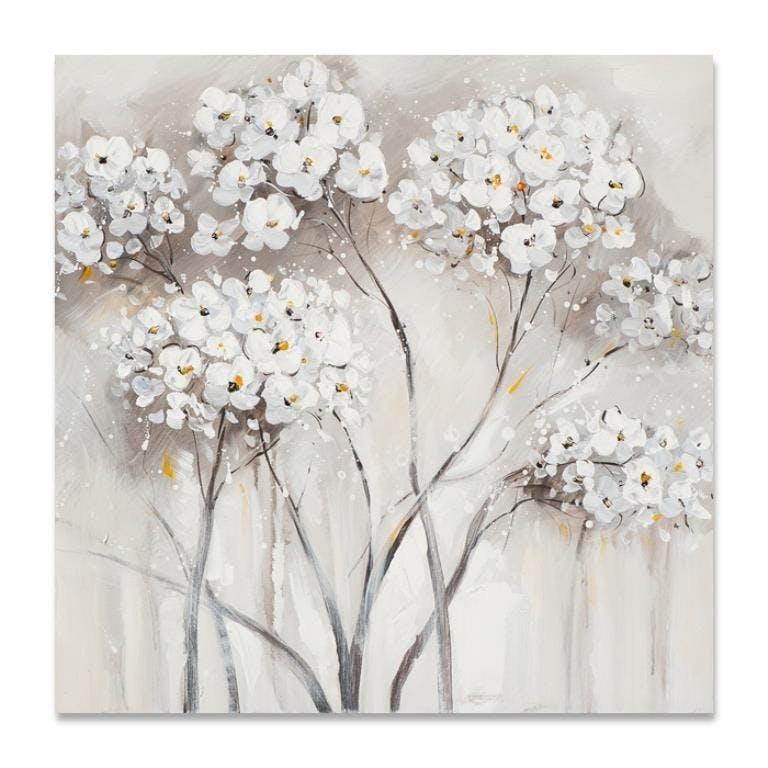 FLEURS 40x40 Peinture acrylique carrée Blanc et Marron