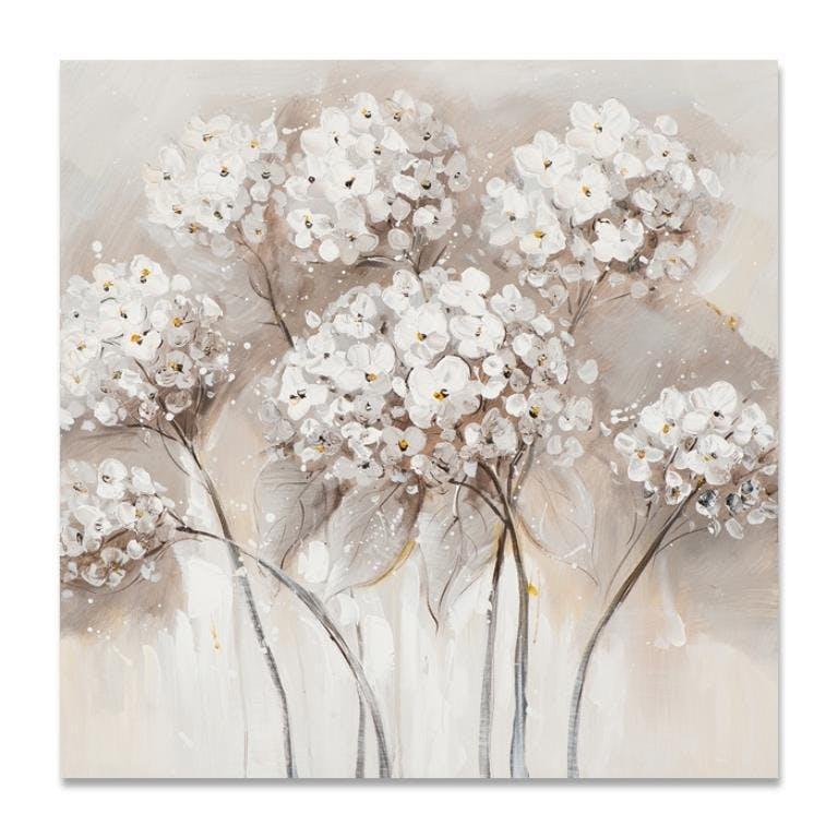 FLEURS 40x40 Peinture acrylique carrée Beige et Marron
