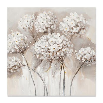 FLEURS 70x70 Peinture acrylique carrée Beige et Marron