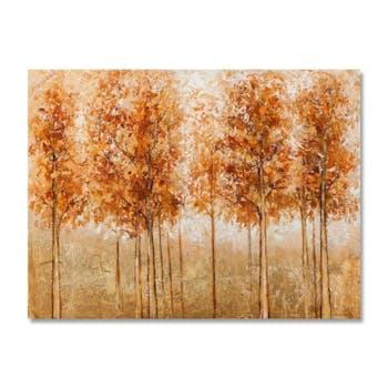 FORETS 120x90 Peinture acrylique rectangle Orange et Doré avec feuilles de métal