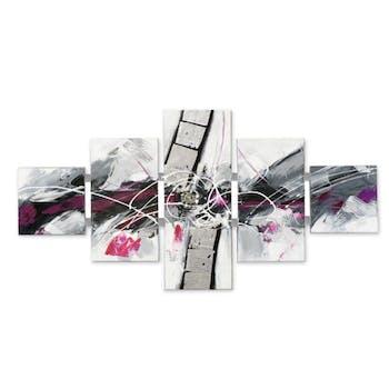 ABSTRAIT 162x80 Tableau quintyque Blanc et Violet avec éléments de métal
