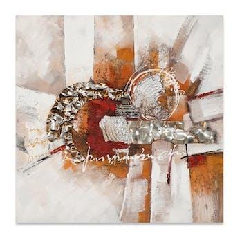 ABSTRAIT 100x100 Peinture acrylique carrée Marron et Rouge avec éléments de métal