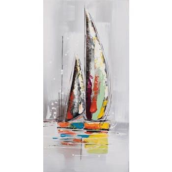 MARINE Tableau bateaux grande voile verticale 40x80 avec éléments métal