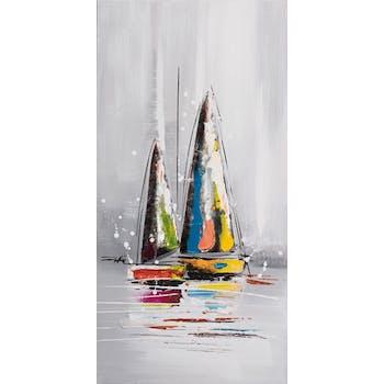 MARINE Tableau bateaux petite voile verticale 40x80 avec éléments métal