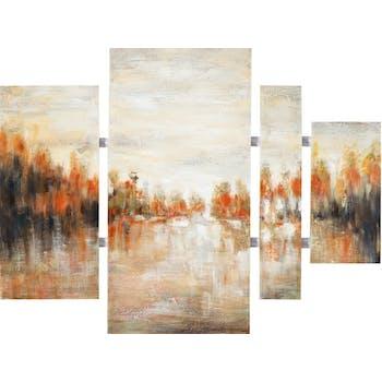 Tableau Abstrait Quadriptyque 100x134. Peinture acrylique et feuilles métal