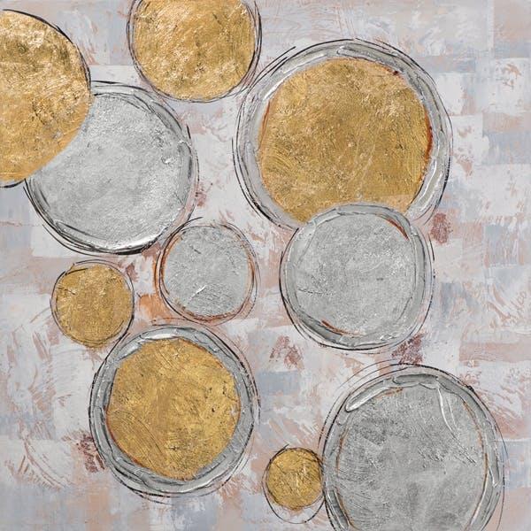 ABSTRAIT Tableau carré cercles métalliques 40x40