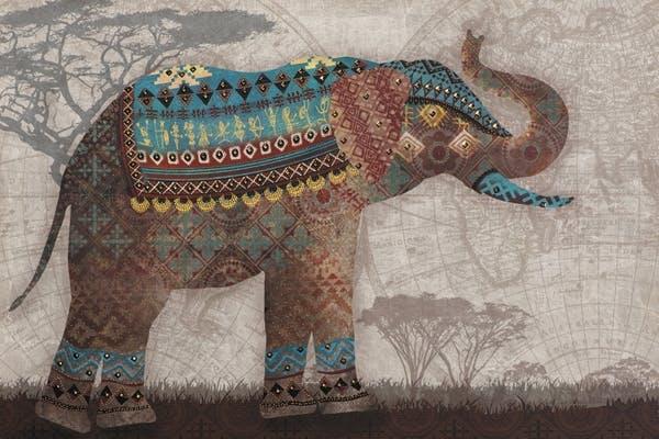 ANIMAUX Peinture éléphant bleu panorama 90x60