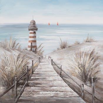 MARINE Tableau carré bleu taupe plage et phare 80x80