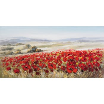 FLEURS Tableau champs coquelicot panorama 140x70