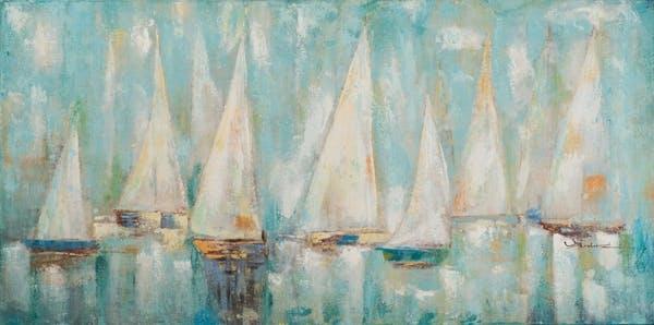 MARINE Tableau frégate voiliers bleus 140x70