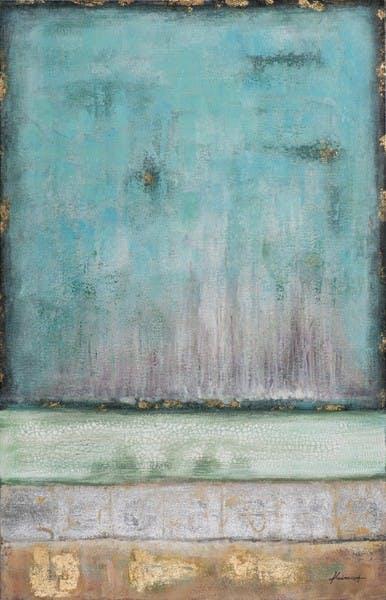 Tableau Abstrait 90x140. Doré. Peinture acrylique et feuilles métal