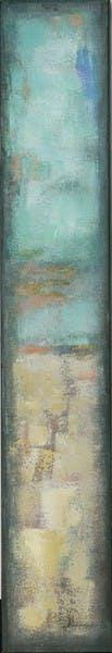 Tableau Abstrait 25x150 Doré. Peinture acrylique et feuilles métal