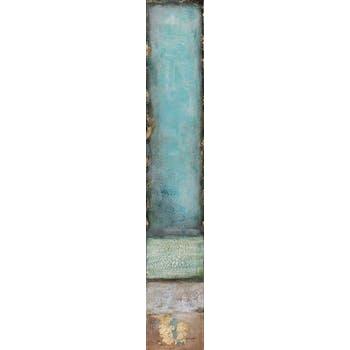 Tableau abstrait 25x150cm - acrylique et métal - or et bleu