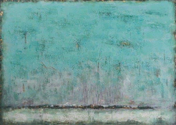 Tableau Abstrait 100x140. Peinture acrylique et feuilles métal