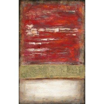 Peinture abstraite 90x140 avec ajout feuilles métal - rouge et or