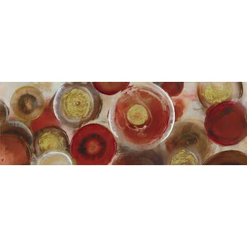Tableau Abstrait laqué 50x150 Doré. Peinture acrylique et feuilles métal
