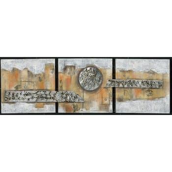Tableau Abstrait Triptyque 50x156. Argenté. Ajout d'éléments métal en relief. Peinture acrylique et feuilles métal