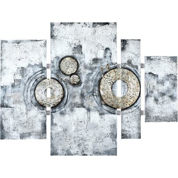 Quadriptyque 100x134cm - peinture abstraite argentée et ajout métal