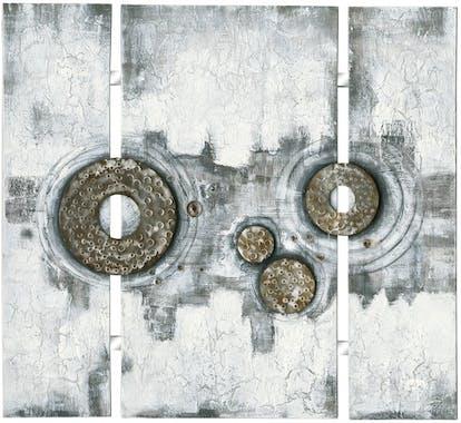 Tableau Abstrait Triptyque 115x126. Argenté. Ajout d'éléments métal en relief. Peinture acrylique et feuilles métal