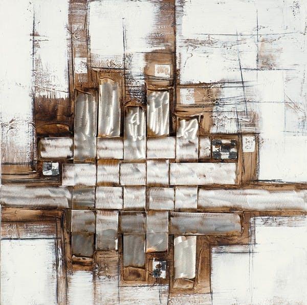 Tableau Abstrait 70x70 Argenté. Ajout d'éléments métal en relief . Peinture acrylique
