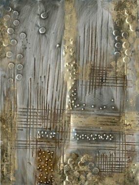 Tableau métal Abstrait 60x80  Doré argenté. Ajout d'éléments métal en relief. Peinture acrylique