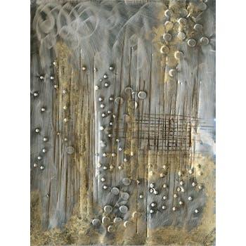Tableau abstrait 60x80 - peinture et éléments en métal or & argent