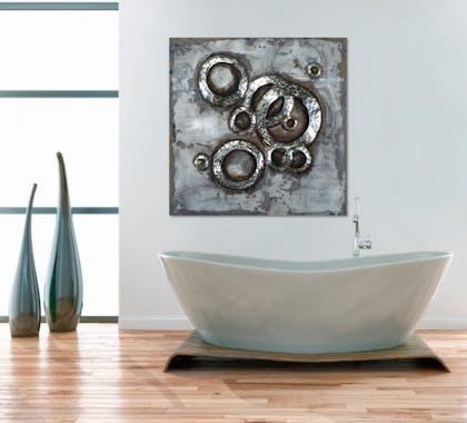 tableau abstrait sur plaque m tal 100x100 argent ajout d. Black Bedroom Furniture Sets. Home Design Ideas