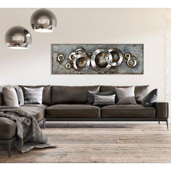 Tableau Abstrait sur plaque métal 50x100 Argenté. Ajout d'éléments métal en 3D. Peinture acrylique
