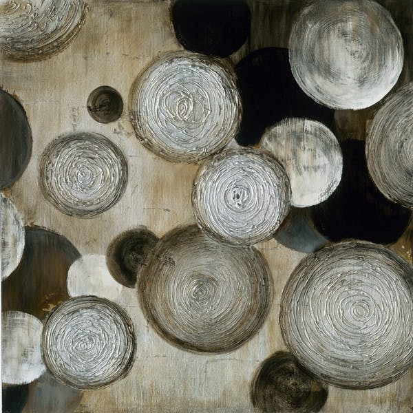 Tableau Abstrait laqué 100x100 Argenté. Peinture acrylique et feuilles métal