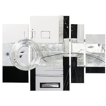 Tableau quadriptyque 115x159 - peinture en noir et blanc, ajout feuilles métal