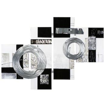 Tableau Abstrait Quadriptyque 110x149. Argenté. Ajout d'éléments métal en relief. Peinture acrylique et feuilles métal