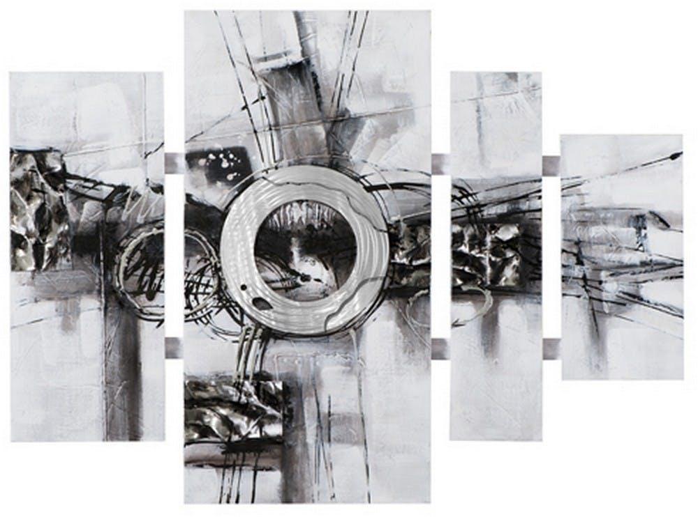 Tableau Abstrait Quadriptyque 115x159. Argenté. Ajout d'éléments métal en relief. Peinture acrylique et feuilles métal