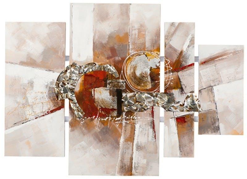 Quadriptyque abstrait 115x159 - peinture tons rouge et orange, feuilles métal