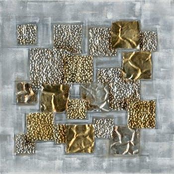 Tableau 70x70, carrés argent et or - peinture acrylique et ajout de matière en relief