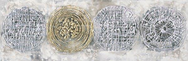 Peinture acrylique 50x150cm - ronds or et argent