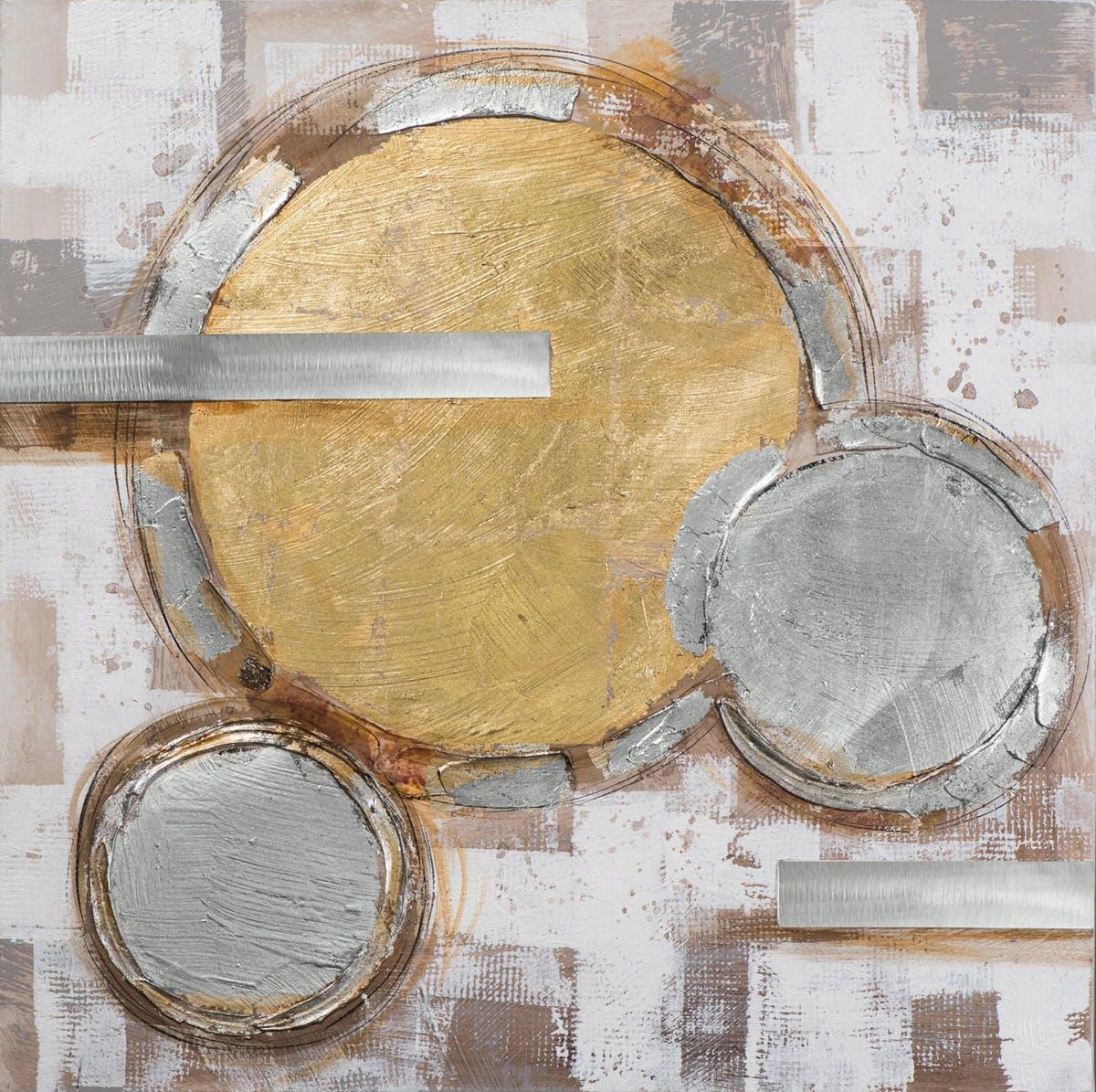 Tableau Abstrait 100x100 Argenté Doré. Ajout d'éléments métal en relief. Peinture acrylique et feuilles métal
