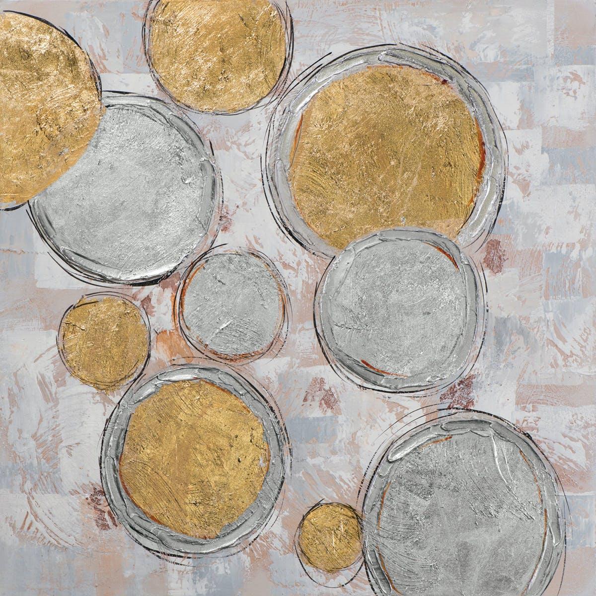 Tableau Abstrait 70x70 Argenté Doré. Peinture acrylique et feuilles métal