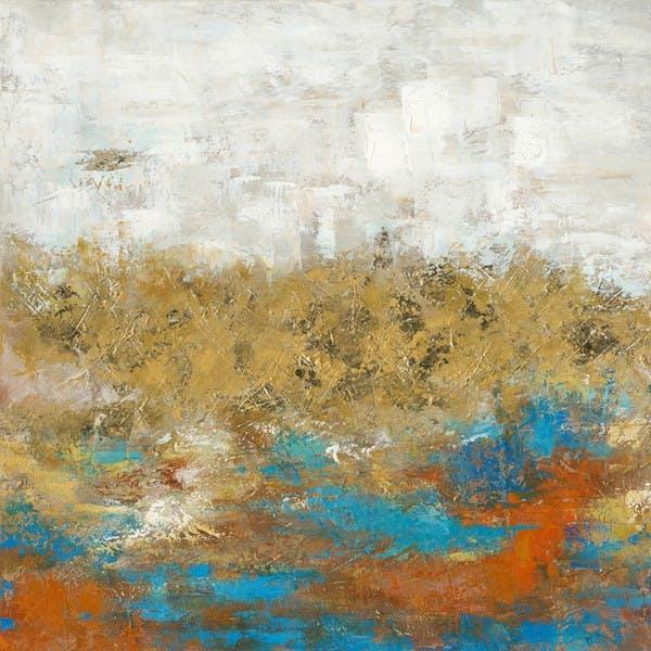 Tableau Abstrait 100x100 Doré.  Peinture acrylique et feuilles métal