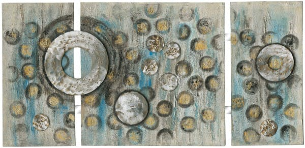 Tableau Abstrait triptyque 70x146 Argenté Doré. Ajout d'éléments métal en relief. Peinture acrylique et feuilles métal