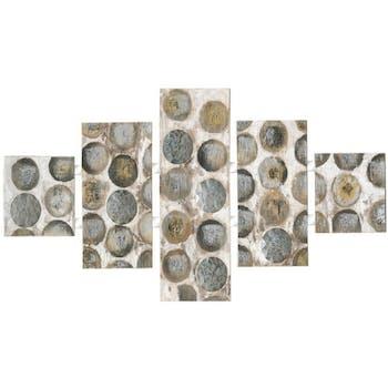 Tableau Abstrait Quintyque 80x162. Argenté. Ajout d'éléments métal en relief. Peinture acrylique et feuilles métal