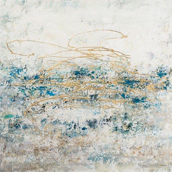 Tableau Abstrait 115x115 - style contemporain doré
