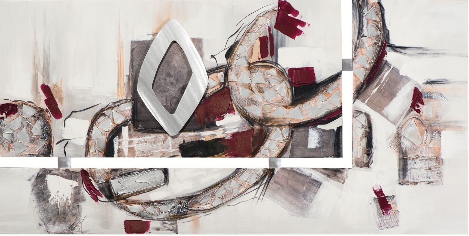 Tableau Abstrait diptyque 70x140 Argenté. Ajout d'éléments métal en relief. Peinture acrylique