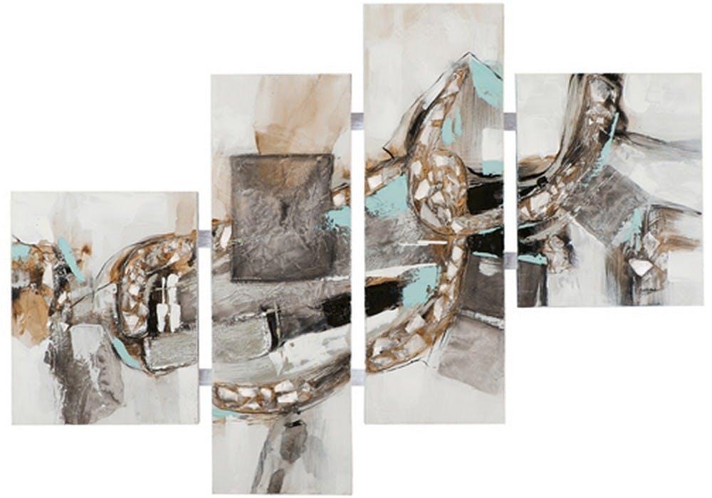 Tableau Abstrait Quadriptyque 110x149. Argenté. Ajout d'éléments métal en relief. Peinture acrylique