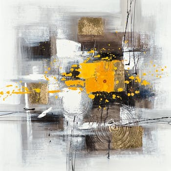 Tableau Abstrait 60x60 Doré. Peinture acrylique et feuilles métal