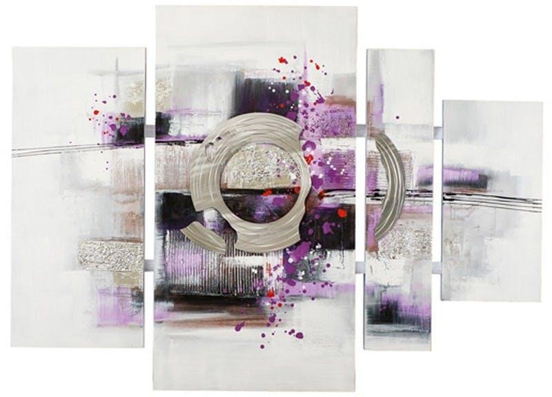 Tableau quadriptyque abstrait 115x160 - argent, noir et violet, ajout feuilles métal