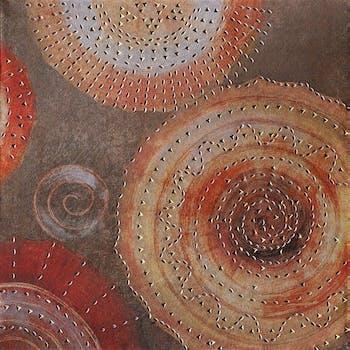 Tableau Abstrait Rosace 40x40 Argenté. Ajout d'éléments métal en relief. Peinture acrylique