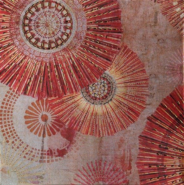 Tableau 40x40 - rosaces rouge et or, ajout éléments métal en relief