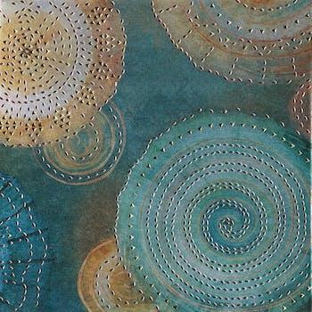Peinture abstraite 40x40 - rosaces en couleur et élements en métal