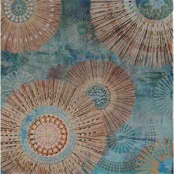 Tableau abstrait 40x40 - rosaces bleues et argentées, ajout de métal en relief