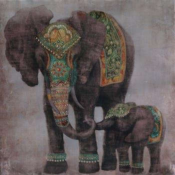 Peinture sur toile 90x90 - éléphants gris, ajout d'éléments en métal